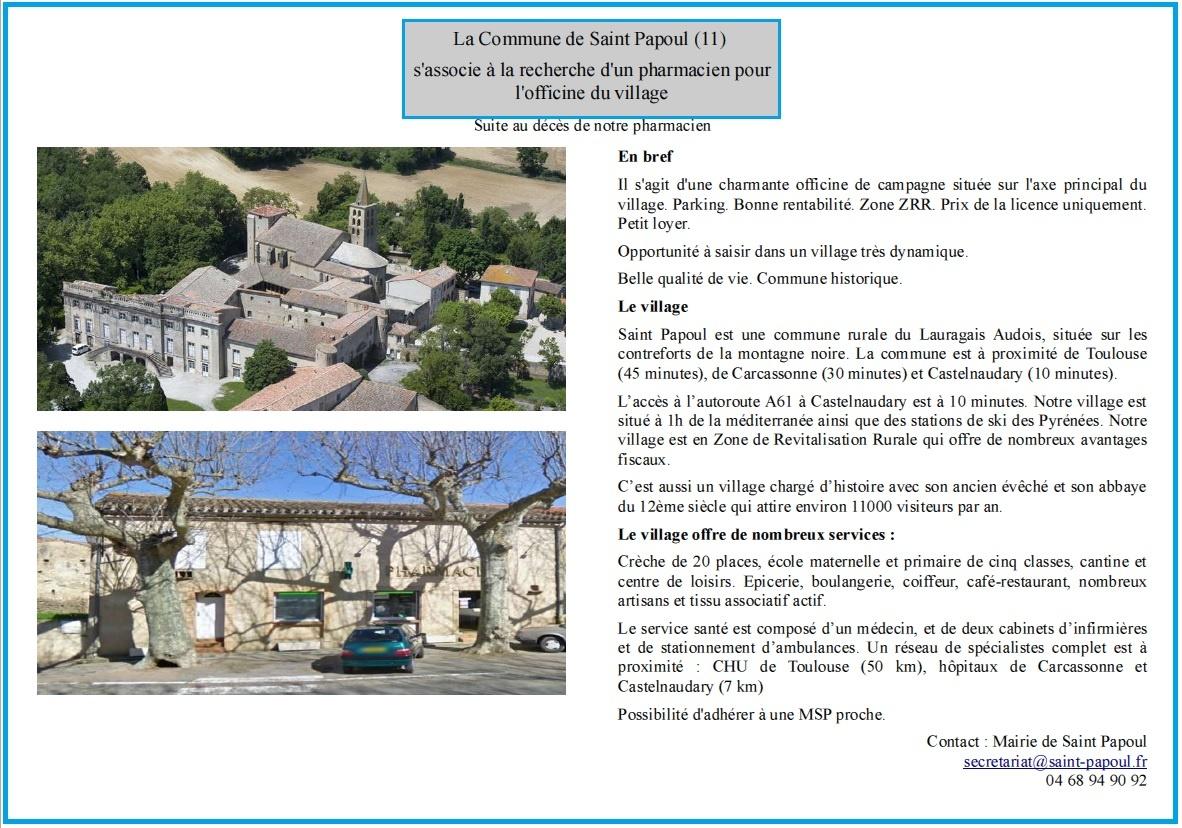 Annonce recherche pharmacien Saint Papoul