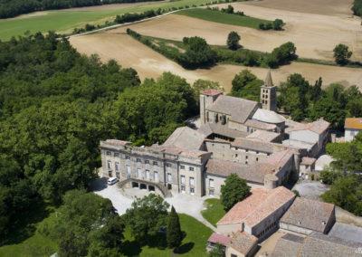 Vue aérienne abbaye château Saint-Papoul
